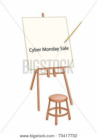 Wooden Artist Easel With Word Cyber Monday Sale