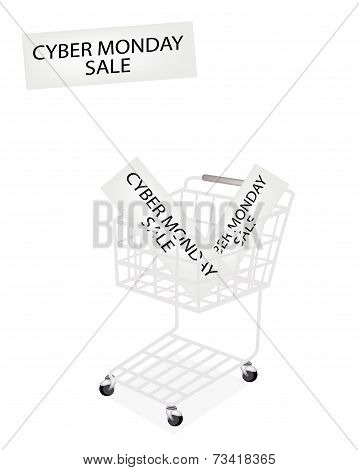 A Shopping Cart On Cyber Monday Banner