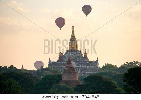 The plain of Bagan at sunset Myanmar.