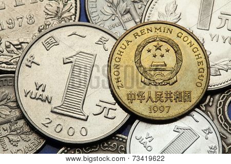 Coins of China. National emblem of China depicted in the Chinese five Jiao coin and the Chinese one Yuan coin.