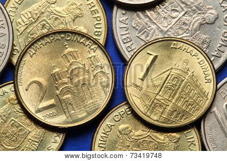 Coins of Serbia. Gracanica monastery in Kosovo and the building of the National Bank of Serbia in Belgrade depicted in Serbian dinar coins.