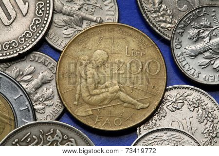 Coins of Italy. Emblem of the 1980 FAO International Women's Year depicted in the old Italian 200 lira coin.