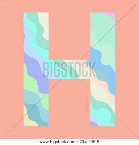The letter H. Element of alphabet