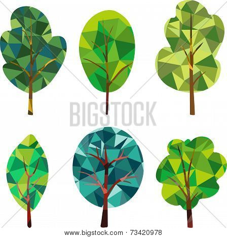 Triangle polygonal silhouettes of trees