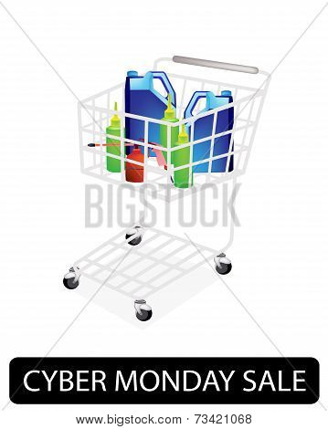 Engine Oil Packaging in Cyber Monday Shopping Cart