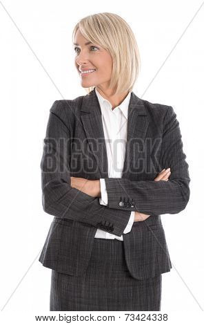 Smiling isolated business woman looking sideways wearing suit or costume.