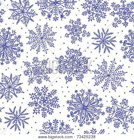 Hand drawn snowflakes. Seamless pattern.