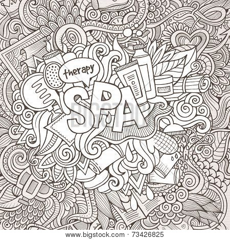 Spa hand lettering and doodles elements background.