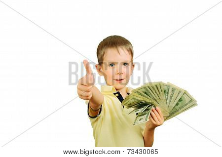 Little Smiling Boy Holding A A Stack Of 100 Us Dollars Bills And Showing Thumb Up