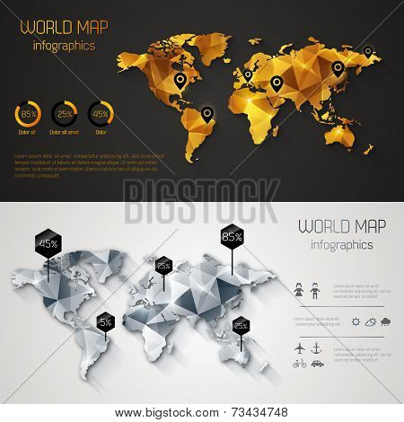 Abstract World Map With Tags, Points And Destinations.