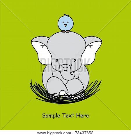 elephant sitting on the nest of a bird