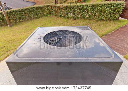 Hemispheric Sundial Angbuilgu In Science Garden In Busan, Korea