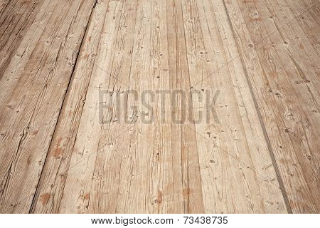 Old Brown Wooden Floor Perspective. Background Photo Texture