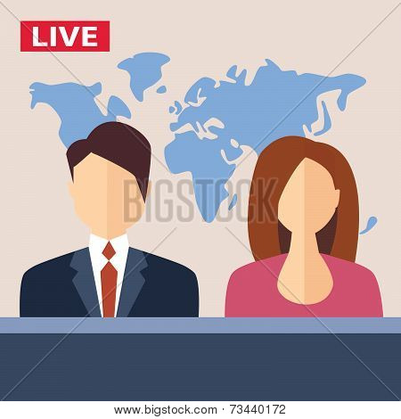 Male And Female Tv Presenters Sit At The Table Live