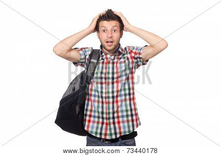 Man with backpack isolated on white