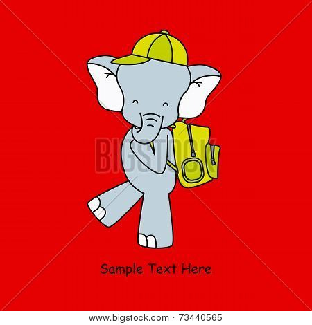 elephant  with backpack
