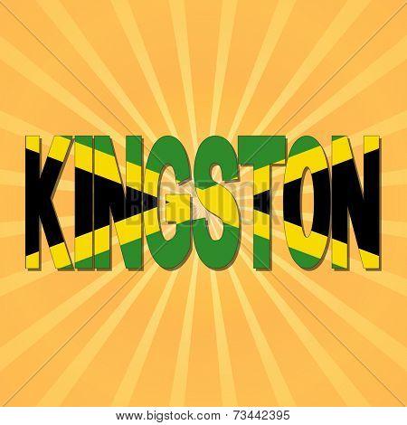 Kingston flag text with sunburst illustration