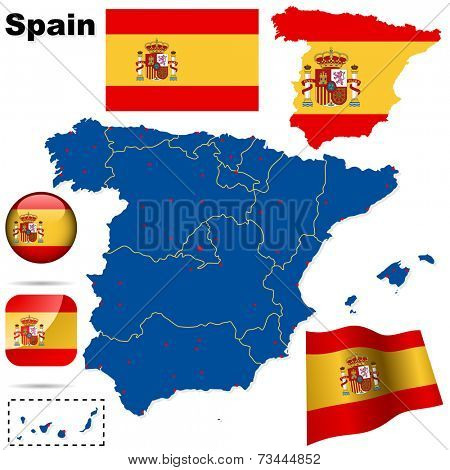 Spain set. Detailed country shape with region borders, flags and icons isolated on white background.