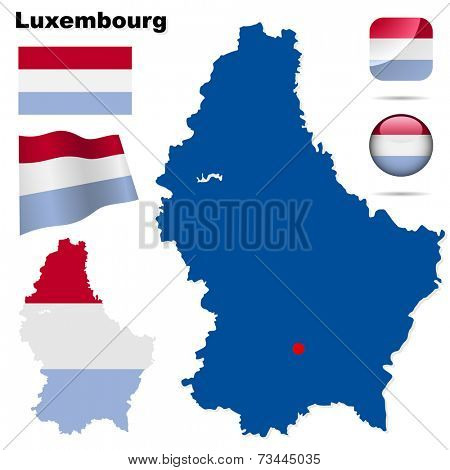Luxembourg set. Detailed country shape with region borders, flags and icons isolated on white background.
