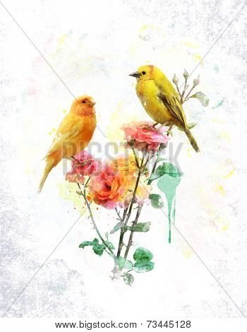Watercolor Digital Painting Of Flowers And Yellow Birds