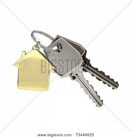 Keys with a house pendant.