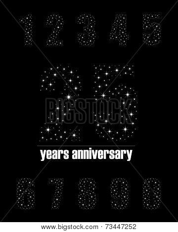 Years anniversary collection in bright stars number design