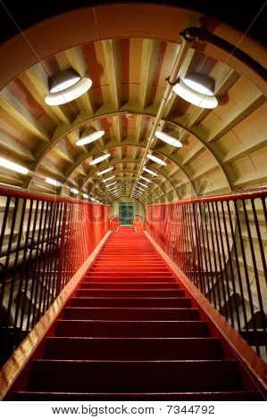Red corridor with stairs