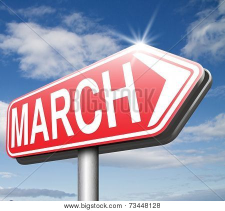 March this or next month of the year early spring event calendar road sign