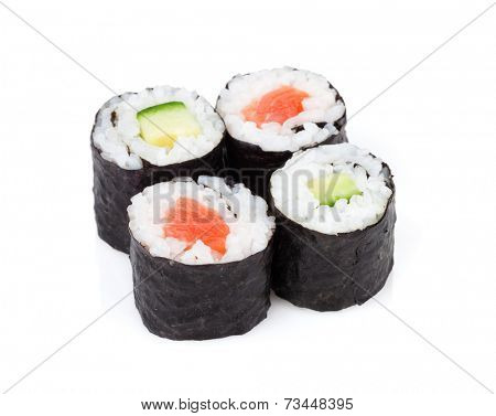 Sushi maki set with salmon and cucumber. Isolated on white background