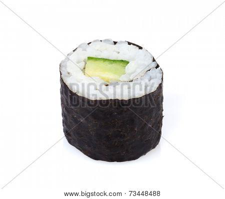 Sushi maki with cucumber. Isolated on white background