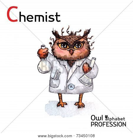 Alphabet professions Owl Chemist character on a white background Vector Watercolor.