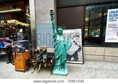 NEW YORK CITY - MARCH 27: Statue of Liberty in front souvenirs store in New York on March 27, 2014