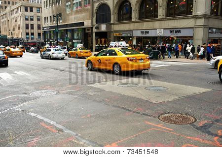NEW YORK CITY - MARCH 27: Yellow taxi at street,  March 27 2014 in New York, USA