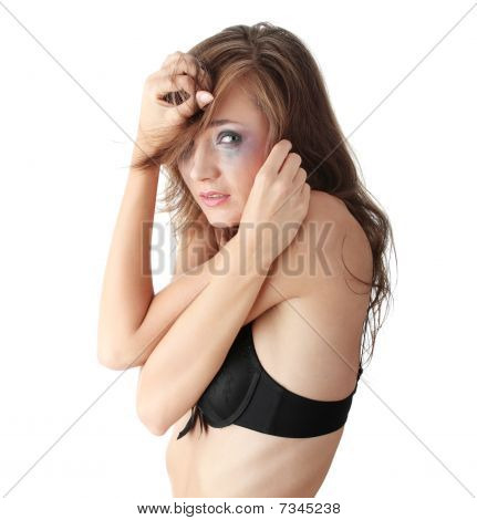 Woman In Underwear Crying - Violence Concept