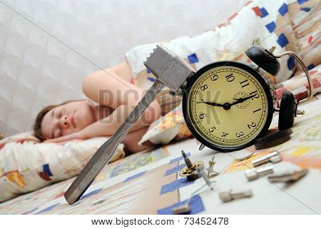 Teen Has Broken An Alarm Clock And Sleep