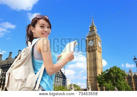 Happy Woman Travel In London