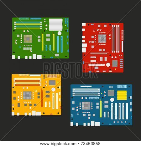 Different computer mainboards collection