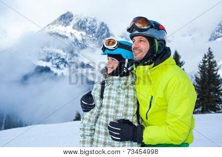 Family enjoying winter vacations.
