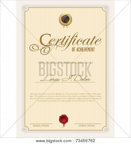 Certificate or diploma retro vintage temmplate vector illustration