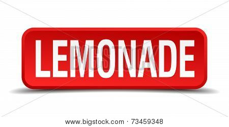 Lemonade Red 3D Square Button Isolated On White