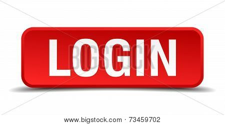 Login Red 3D Square Button Isolated On White