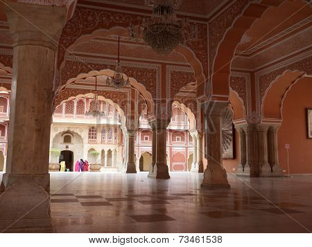 India. Jaipur. Palace of the Maharaja. Colons