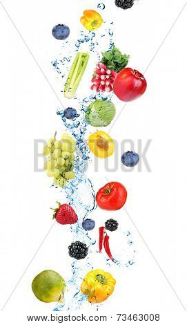 Fresh fruit, berries and vegetables with water splash, isolated on white