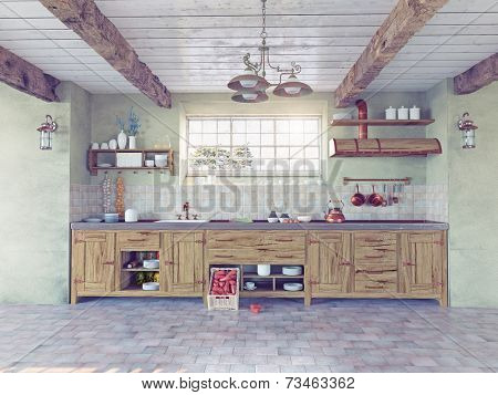 beautiful old-style kitchen interior. 3D concept