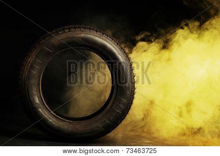 photo of black smoked burning tire