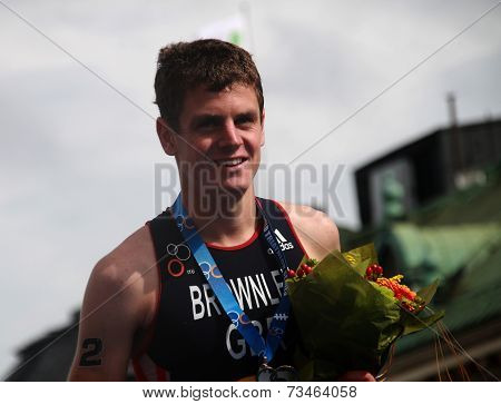 Jonathan Brownlee With The Gold Medal