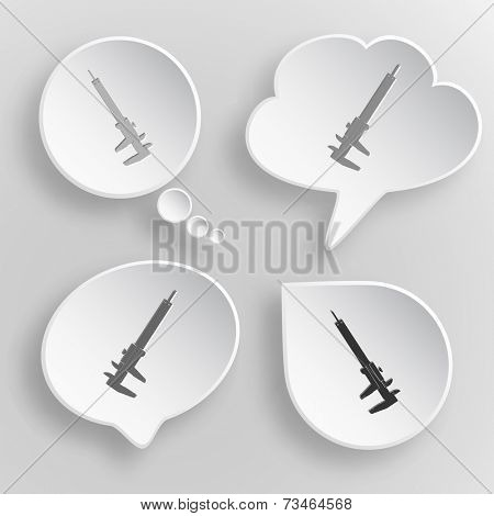 Caliper. White flat vector buttons on gray background.
