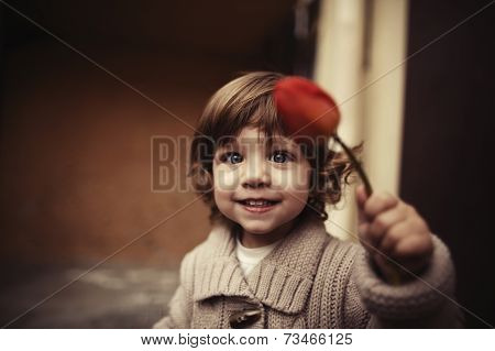 Cute girl with flower