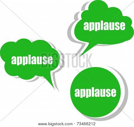 Applause Word On Modern Banner Design Template. Set Of Stickers, Labels, Tags, Clouds