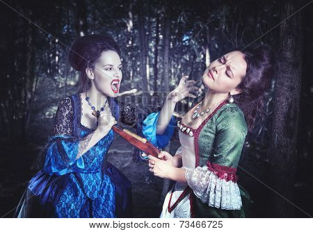 Battle With Beautiful Vampire In Medieval Dress